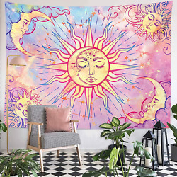 Pastel Cute Pink Tapestry Mystic Celestial Sun Moon Wall Hanging Large Tapestry