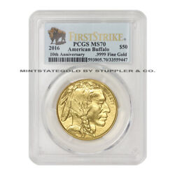 2016 50 Buffalo Pcgs Ms70 First Strike American Gold Bullion Coin Bison Label