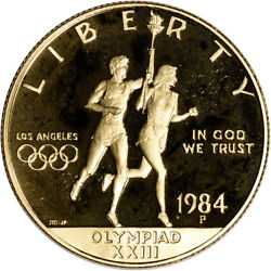 1984-p Us Gold 10 Olympic Commemorative Proof - Coin In Capsule