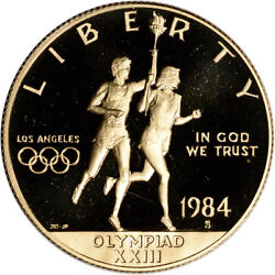 1984-s Us Gold 10 Olympic Commemorative Proof - Coin In Capsule