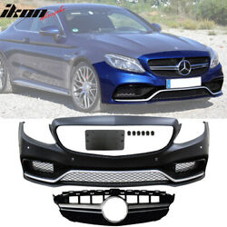 Fits 15-18 Benz W205 C-class C63 Amg Pp Front Bumper Conversion W/ Silver Grille
