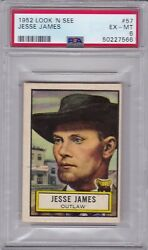 1952 Topps Look 'n See 57 Jesse James Psa 6 Ex/mt Outlaw