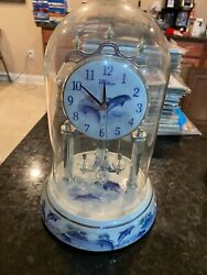 Waltham Porcelain Blue Glass Dome Dolphin Anniversary Chime Clock Beautiful