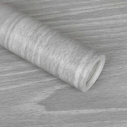 Gray Wood Contact Paper 17.7 X 118 Inch Wood Grain Texture Peel And Stick Wall