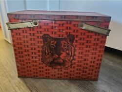 1940s Tiger Chewing Tobacco Large Tin Can / Box