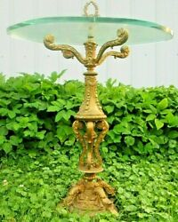 Louis Xiv Style Bronze And Glass Side Table Hollywood Regency Brass End Table Vtg