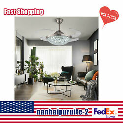 42and039and039 Crystal Invisible Ceiling Fan Lamp Led Chandelier Remote Control Light 110v