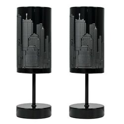Pair Of Touch Table Lamps Dimmable Lights New York Skyline Modern Design