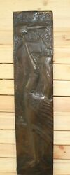 Vintage Wall Hanging Copper Plaque Abstract Portrait Girl Carry Fire