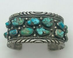 Vintage Native American Silver Turquoise Beaded Cuff
