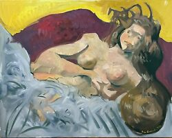 Nude Abstract Large Oil Painting Cubism Female Figure 30x24 Original Signed