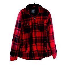 Menand039s Red And Black Plaid American Eagle Button Down Flannel Jacket Size Large