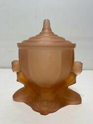 Vintage Art Deco Satin Frosted Glass Nude Woman Figure Candy Dish Antique