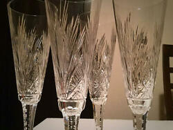 Old Saint-louis Nelly 4 Champagne Flute Glasses Extremely Rare Crystal Antique