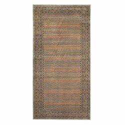 5and0399x12and039 Saroogh Wool And Sari Silk Hand Knotted Beige Wide Runner Rug R63213