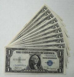 Lot Of 10 - 1935 A Through 1935 H - Silver Certificates - 1 - Star Notes - Unc