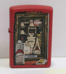 Zippo Oil Lighter Red Print Good Condition