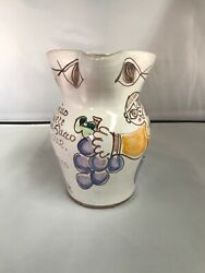 Desimone Italian Pottery Pitcher Eyes/words/grapes/man Colorful Mid Century 65