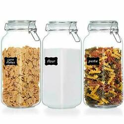 Vtopmart 78oz Glass Food Storage Jars With Airtight Clamp Lids 3 Pack Large New