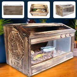 Reptile Chameleon Lizard Snake Cage Wooden Cages 80*40*40CM Paulownia No Rust US