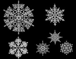 Large White Snowflakes German Lace Christmas Tree Ornaments Set Of 6 Decorations