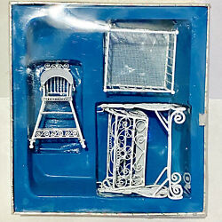 White Wire Real Metal Dollhouse Furniture Wrought Iron Wicker Mesh Vintage 3pc