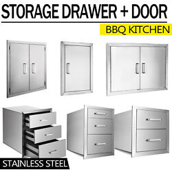 Usa Outdoor Kitchen / Bbq Island Stainless Steel Double Access Door + Drawer
