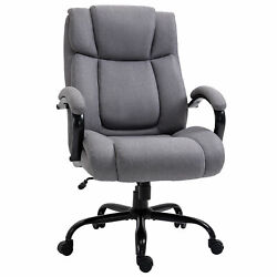 Big And Tall Executive Office Chair Swivel Linen Home High Back Chair Light Grey