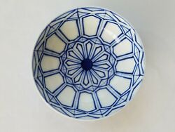 Antique Japanese Arita Blue And White Porcelain Small Footed Bowl