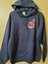 1723 Mens Majestic Cleveland Indians Pullover Hooded Hoodie Sweatshirt Blue New