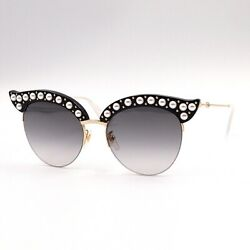 With Case Gg0212s 00153 Sunglasses Black Gold Pearl Cat Eye Glasses