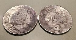 Vintage 6 Hand Hammered The Forge Pewter Plates - Set Of 2 - Lighthouse And Amish