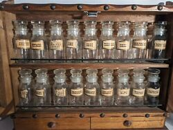 Vintage Holmar Apothecary Chest And 18 Bottles With Drawers And Doors Japanese