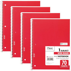 Spiral Notebooks 1 Subject Wide Ruled Paper 70 Sheets 10-1/2 X 7-1/2 Inches
