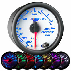 Glowshift 52mm White 7 Color 45 Psi Turbo Boost / Vacuum Gauge