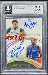 2015-16 Immaculate Dual Auto Anthony Davis/kevin Durant 3/25 Bgs Autograph 10