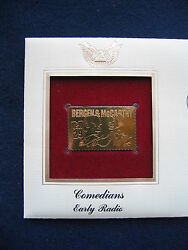 1991 Bergen Mccarthy Comedian Early Radio 22kt Gold Golden Cover Fdc Stamp