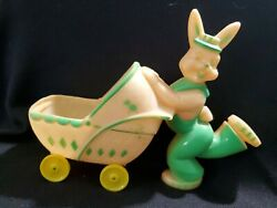 Hard Plastic Candy Container Easter Bunny Rabbit Baby Buggy