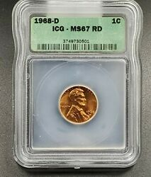 1968 D Lincoln Memorial Cent Penny Coin Vintage Retro Icg Ms67 Rd Red Gem Bu