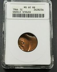 Saddle Double Struck Error 1964 P Lincoln Memorial Cent Coin Anacs Ms60 Rb