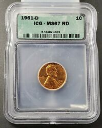 1961 D Lincoln Memorial Cent Penny Ms67 Icg Vintage Icg Case Nice Coin