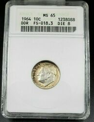 1964 P Roosevelt Silver Dime Variety Anacs Ms65 Ddr Fs-018.3 Die 8 Fs-802 Top Pp