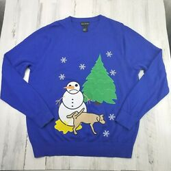 Womens Xl Alex Stevens Ugly Christmas Dog Peeing On Snowman Funny Sweater