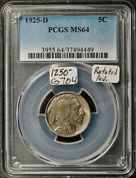 1925-d Buffalo Nickel. Rotated Reverse. In Pcgs Holder. Ms64. G704