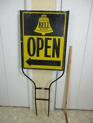 Bell Realty Vintage Real Estate Open House Metal Lawn Sign W/ Bracket 50 C
