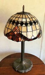 Antique Miller Lamp Co. With Stained Glass Shade Stamped Ml Co 235