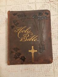 Antique Vintage Holy Bible Douay And Rheims 1865 Gold Gilt Pages Leather Cover