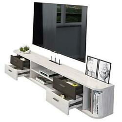 Wall Mounted Floating Tv Stand Media Console Entertainment Gaming Gray-white