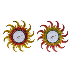 Indoor Outdoor Thermometer Round Sun Shaped Wall Weather Thermometers Garden