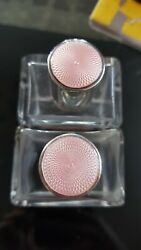 287a Pair Art Deco Sterling Silver Topped Pink Guilloche Enamel Perfume Bottles